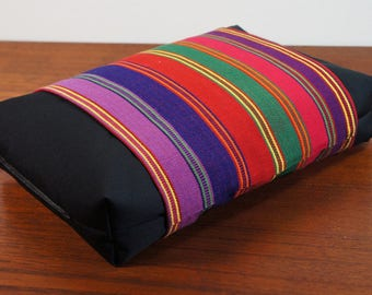 Organic Buckwheat Neck & Back Pillow with Hand Woven Guatemalan fabric Fair Trade  Cover