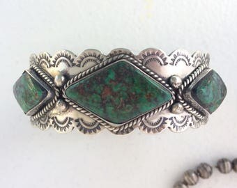 Wonderful Vintage Turquoise Sterling Silver Cuff