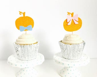 Pumpkin Gender Reveal Cupcake toppers/ Gender reveal party/ fall gender reveal/ set of 12
