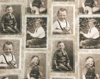 Fabric photographs  2 Set of 4 Vintage Images/swatches  of 1950's Boys. Craft fabric idea from Australia