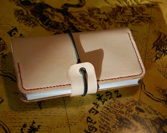 Pocketed Traveler's Notebook Fauxdori Leather Vegtan cover - Passport, Midori Feldnotes Journal