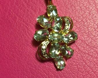 Aquamarine & diamond Pendant / enhancer, 14k