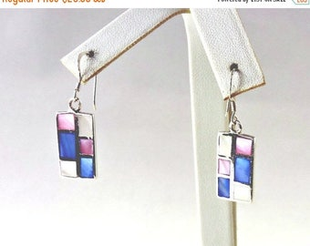 50% OFF CLEARANCE Sterling Silver And Dyed Mother Of Pearl Earrings