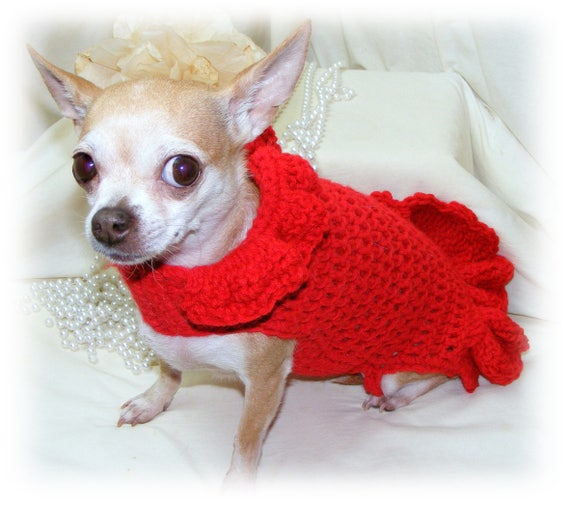 Hand Crocheted Red Sweater Dress