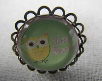 Bague025 - OWL ring / bronze, green and yellow OWL
