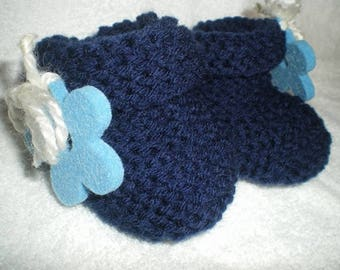 Blue slippers Chaus010 - Navy and turquoise flower