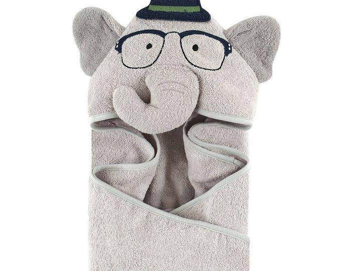 Nerdy Elephant Hooded Towel Bath Wrap Hudson Baby Animal Hooded Towel - Personalized
