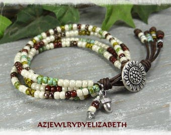 Beaded Wrap Bracelet/ Sunflower Bracelet/ Seed Bead Leather Wrap Bracelet/ Seed Bead Bracelet/ Boho Wrap Bracelet/ Seed Bead Wrap Bracelet.
