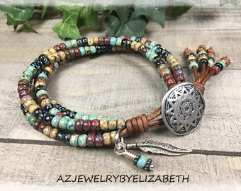 Seed Bead Leather Wrap Bracelet/ Southwestern Leather Wrap Bracelet/ Beaded Leather Wrap Bracelet/ Boho Leather Wrap Bracelet.