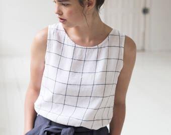 Linen blouse/linen tank top in large checks