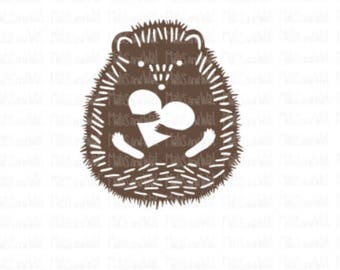 Hedgehog with heart instant digital download papercutting file. Includes SVG, DXF & PNG for Silhouette and Cricut cutting machines