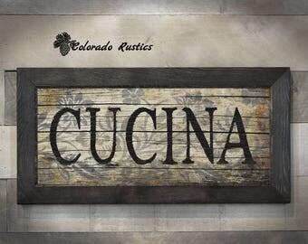 Cucina Sign, Rustic Decor, Kitchen Wall Decor, Tuscan Decor, Rustic Wall  Decor