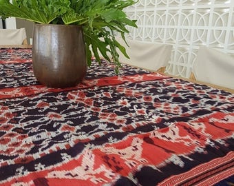 Indonesian Handwoven Ikat Textile from Sumba island. Hand loomed Indonesian Bedspread, Wall Hanging, Table runner, Sofa cover.