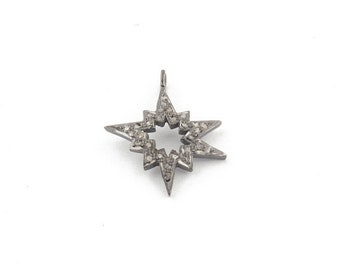 March Sale 1 PC Pave Diamond Star Bust 925 Sterling Silver  Charm  Pendant  24MM PDC1399