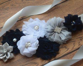 Maternity sash belt,Navy white silver Sash , #4, flower Belt, maternity sash, baby shower gift