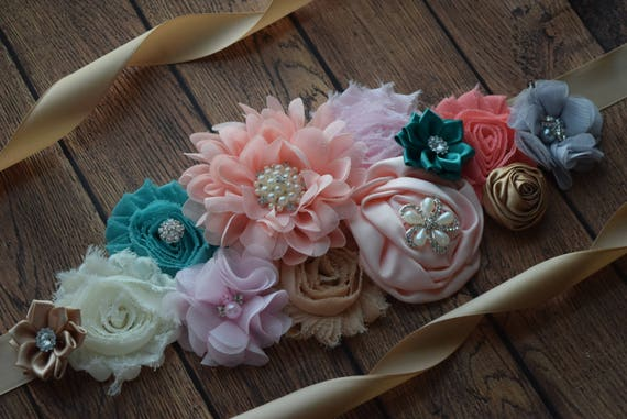 Sash, teal coral tan pink ivory grey Sash , flower Belt, maternity sash, maternity sash belt, flower girl sash belt, pink sash