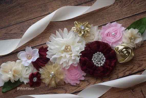 Maternity sash  Flower belt Sash, Burgundy  ivory pink gold sash , flower girl sash, wedding sash,flower Belt, maternity sash