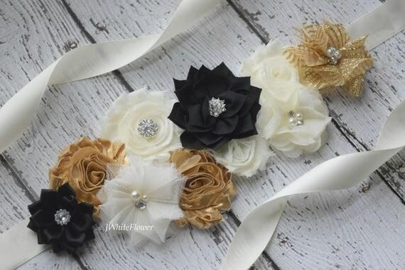 Sash, Ivory  gold black Sash , flower Belt, maternity sash, flower girl sash, flower sash