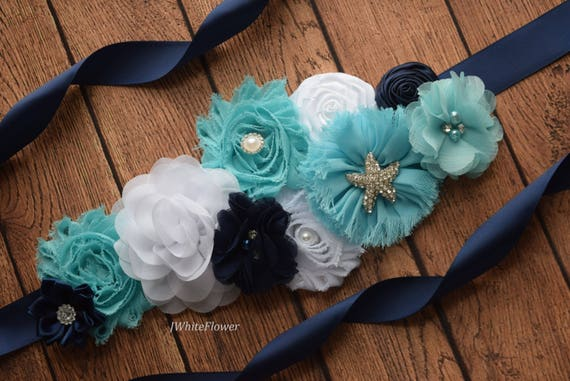 Flower Sash,teal  blue navy white   Sash , beach sash , flower Belt, maternity sash