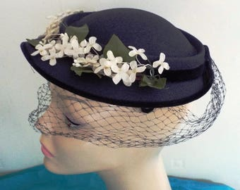 Vintage Ladies  1950s Navy Clip On Dress Hat in Crepe with Floweer Trim and Matching Veiling