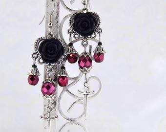 Vampiress, Gothic Dagger Earrings | Gothic Wedding Earrings, Gothic Victorian Rose Earrings, Gothic Chandelier Earrings, Earrings For Women