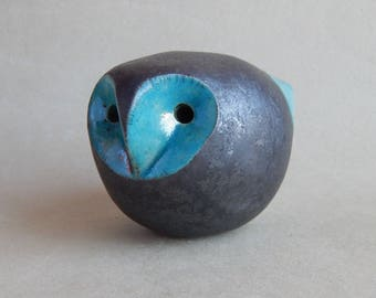 The owl is tin whistle, ceramic sculpture, Raku ceramic ,ocarina, original gift, owl figurine