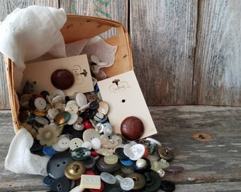 Vintage Lot of Buttons,  Grandma's Button Box, Vintage Sewing Supplies, Vintage Button, Crafting Supplies