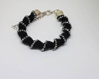 Bracelet black and silver cellini spiral