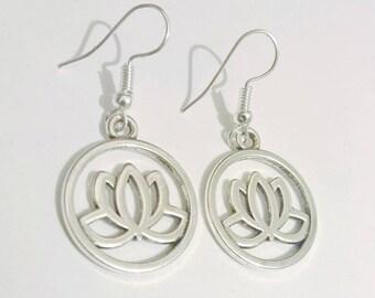 Silver Lotus Boho Charm Earrings