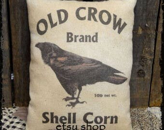Primitive Old Crow Corn Feedsack Type Pillow or Panel