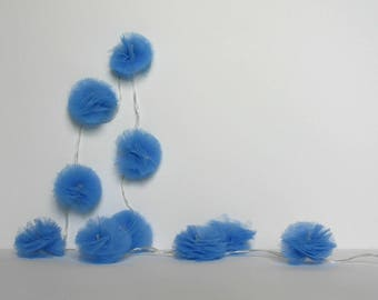 Shabby Chic Fabric Pom Poms Hanging Decor Set Of 5 Fabric And