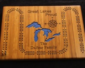Custom made cribbage board personalized with your lake family name.