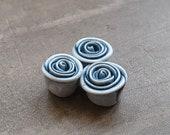Rose Bead in Faded Denim, polymer clay rose bead, artisan rose