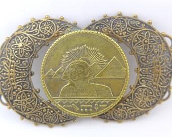 Vintage Art Deco Czech Egyptial Revival Sphinx Filigree Metal Buckle