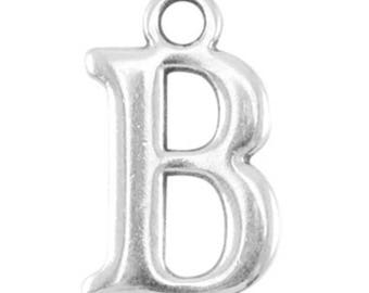 DQ Letter Pendant-1 piece-15 mm-Zamak, silver plated-letter selectable (letter: b)