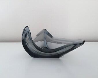 Sleekly smokey grey 1970s glass three cornered dish