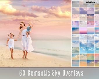 60 Romantic Sky Overlays, Pastel sky, sky overlay, english sky, realistic sky, photoshop overlay, overlays, beach sky, clouds, gimp,  skies