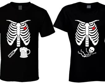 Maternity T-shirts Matching Halloween Couples Shirt Pregnant Skeleton Shirt Pregnancy Announcement Best selling items mother to be