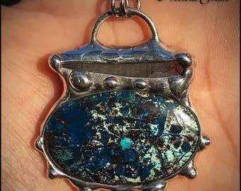 Azurite and Aqua Aura pendant
