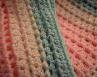 Soft Pink & Teal Crochet Baby Throw Blanket