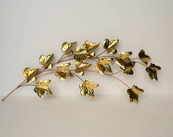 Vintage Metal Leaf Wall Hanging - Home Interior / Homco - Brass & Copper Tones