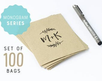 Wedding monogram on paper bags, set of 100 brown flat paper bags, personalized party favors, initials logo for wedding, kraft paper bags