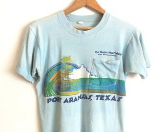 70s SURF SHOP PORT Aransas Texas Threadbare Vintage Beach T-Shirt / Size Medium