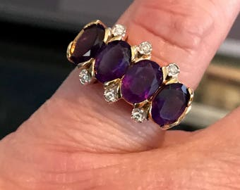 Vintage 10K Yellow Gold Amethyst & Diamond Ring