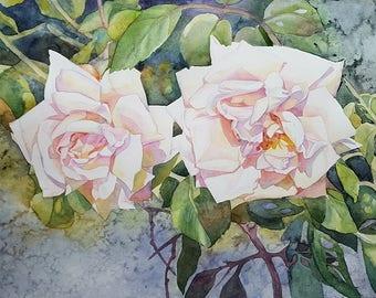 Roses. Original watercolor painting.