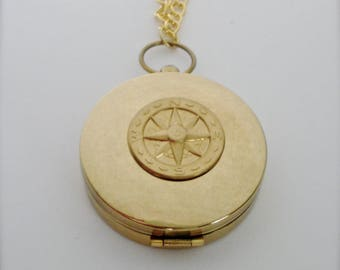 True North Large Compass/Necklace, Working Compass/Pendant/Necklace, True North Compass Necklace, Goldtone True North Necklace