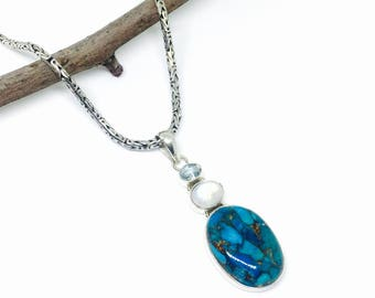 Turquoise, moonstone, bluetopaz multigemstone pendant/necklaces set in sterling silver 925. Natural authentic stones.