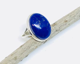 Lapis lazuli ring set in Sterling silver 925. Size -5, 6, 7. Natural authentic lapis lazuli stone.