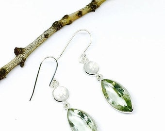 10% Green amethyst and rainbow moonstone earrings set in sterling silver 925. Length- 1.5 inches long. Genuine natural authentic stones.