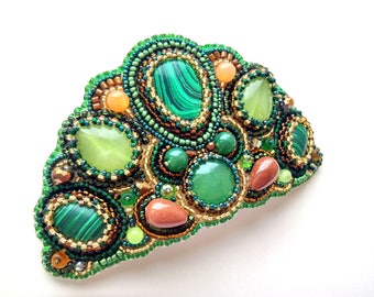 Beaded hair clip Green Brown hair clip Gemstone barrette Beaded embroidery barrette for women Hair accessories Bead embroidered barrette